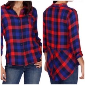 Lucky Brand bungalow plaid button back top